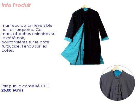 manteau réversible femme