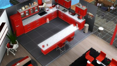 Paradise rdc salon salle manger cuisine wc les for Salon moderne sims 4