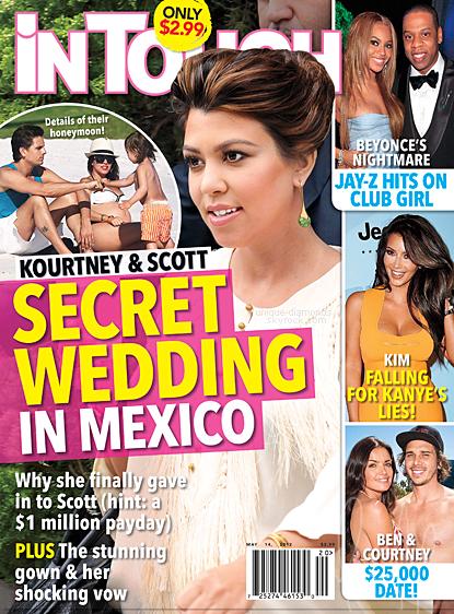 Kourtney fait la couverture du magazine In Touch de cette semaine. D'après le magazine, Kourtney et Scott seraient sur le point de se marier à Mexico (dans la villa de Joe Francis à Puerto Vallarta) et même que la chaîne de télé E! diffusera la cérémonie (droit qu'elle a eu après avoir payé 1 million de dollar). A suivre...