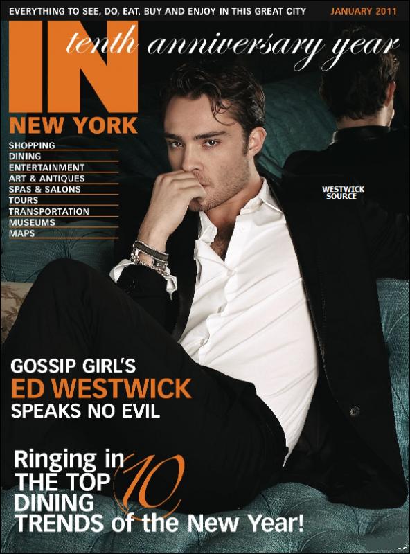 """COVER Ed fait la cover du magazine """"In New York"""" du mois de janvier pour promouvoir """"Chalet Girl""""."""