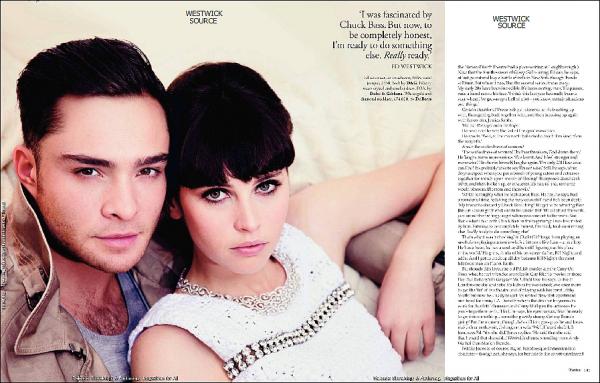 """COVER Ed fais la couverture (et l'intérieur) du magazine anglais """"TATLER""""de mars 2011.  Il pose en compagnie de sa co-starFelicityJonesafin de promouvoir le film """"Chalet Girl"""" ."""