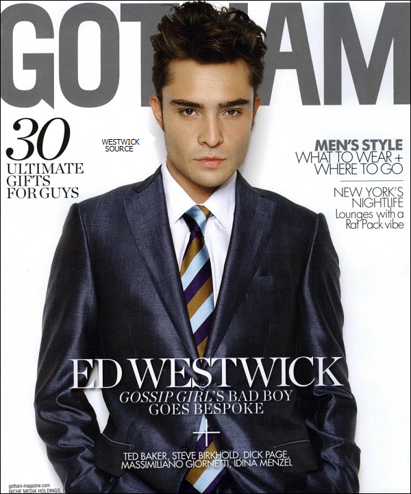"COVER Ed en couverture du magazine ""GOTHAM"" . (les photos sont de 2010.)"