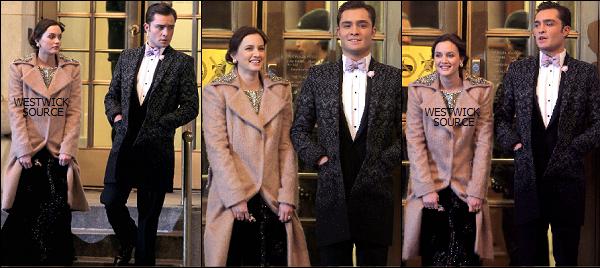 ON SET Ed tournant le dernier épisode de la saison 4 de GG avec Leighton, au Plaza Hotel, le 7 mars.