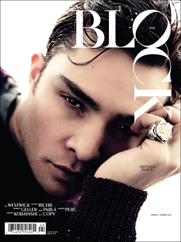 """COVER Ed en couverture du magazine printemps/été """"THE BLOCK"""". Photographie de Steven Pan."""