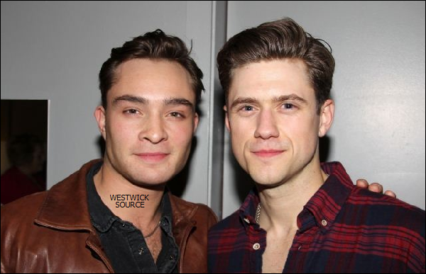 """APPARITION Le 22 Avril, Ed est venu soutenir Aaron Tveit (Tripp Van Der Bilt dans GG), pour la premiére de sa piéce """"Catch Me If You Can"""", on a pu donc voir Ed en backstage en compagnie d'Aaron."""
