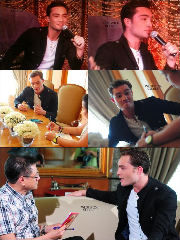 APPARITION Le 2 et 3 juin, Ed a donné une conférence de presse et répondu à plusieurs interviews.