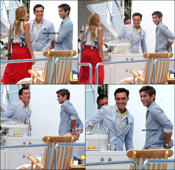 ON SET Le 3 Août, Ed tournant Gossip Girl en compagnie de Blake et Chace, à Long Beach, Californie.