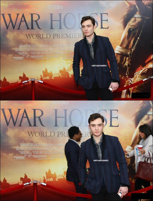 """APPARTION Le 4 Décembre dernier, Ed était présent à la première New Yorkaise du film """"War Horse""""."""