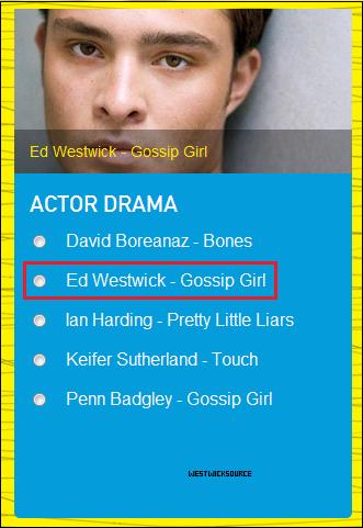"""DIVERS Ed est nominé pour les Teen Choice Awards 2012 dans la catégorie """"Choice TV Actor: Drama""""."""