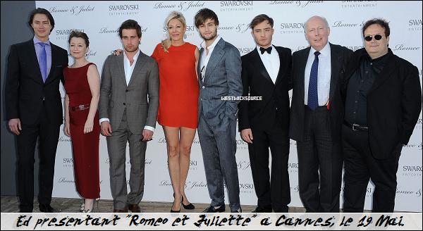 """CANDIDS / APPARITION Ed au festival de Cannes pour présenter le film """"Roméo et Juliette"""" le 19 Mai."""