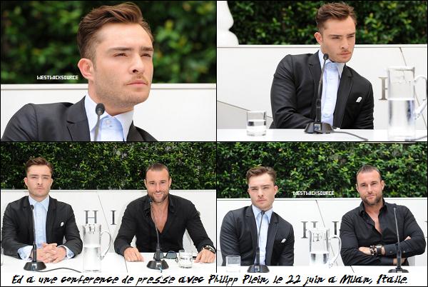 APPARITION/CANDIDS Ed à Milan pour la marque Philipp Plein, dont il est l'égérie, les 22 et 23 juin.
