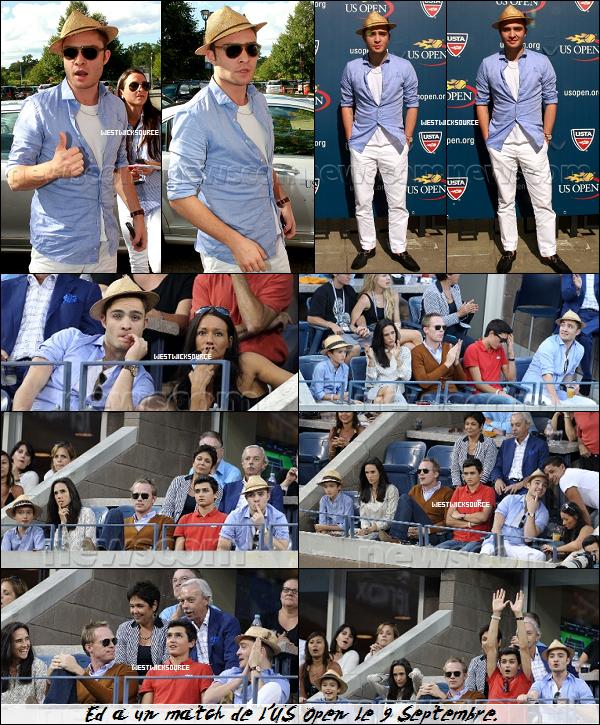 CANDIDS Ed à certains matchs de l'US Open (tournoi de tennis) les 6, 9 et 10 Septembre.