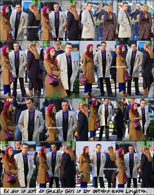 ON SET Ed sur le set de Gossip Girl les 1er et 2 Octobre dernier, avec Leighton, Blake et Kaylee (alias Ivy).