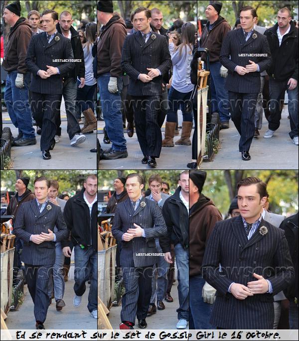 ON SET Ed, avec le reste du cast, sur le set de Gossip Girl ces derniers jours, à New York.