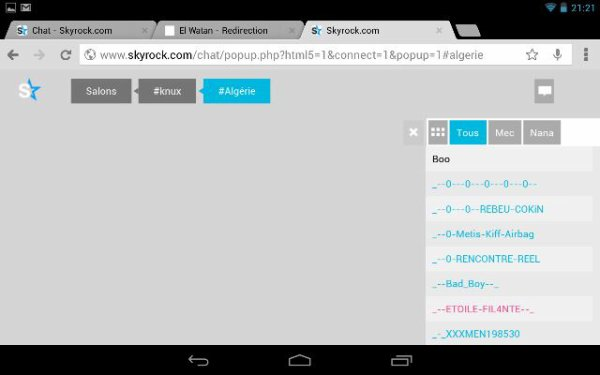 Excellent, la nouvelle version du chat skyrock pour tablette , bravo l'@dev ^^