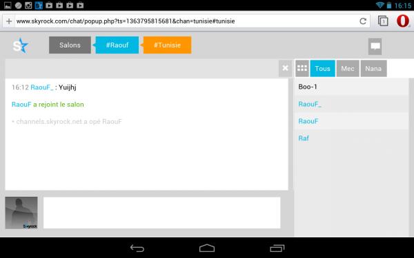 faut-il utiliser google chrome ou Opera sur Skyrock.com/chat pour tablette ? 1/3