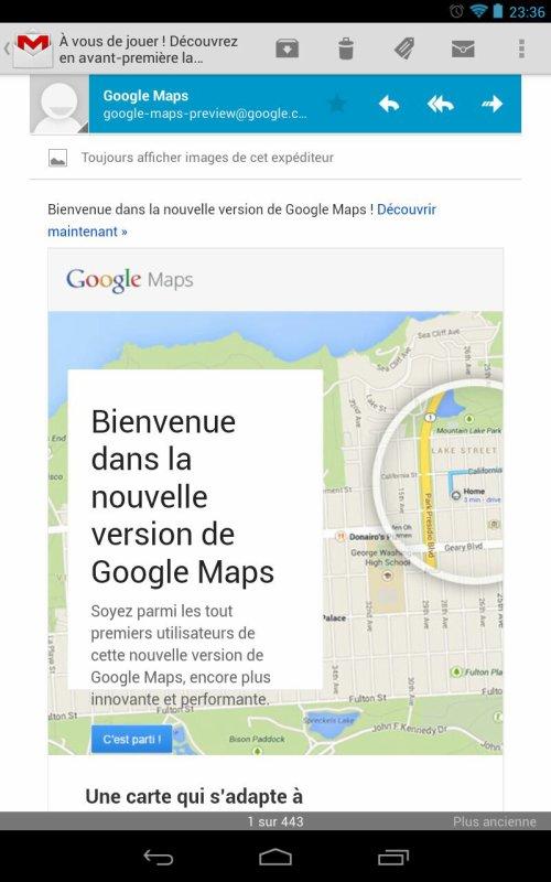 Invitation pour utiliser le nouveau Google maps reçu !