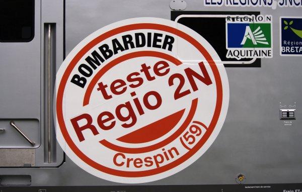 EN EXCLUSIVITE : Je vous presente le Régio 2N, de chez Bombardier, qui part ici au centre d'essais de Petite-Foret (la SOGEEF)