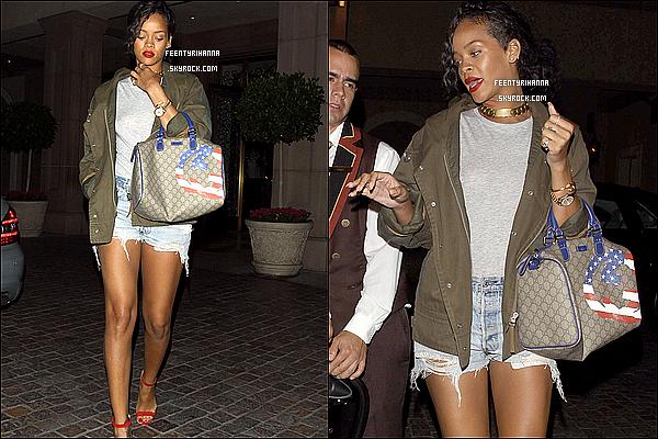 . 12/08/12 : Rihanna Fenty aperçut quittant le restaurant italien Giorgio Baldi à Los Angeles.  + Le 13 août, Rihanna est allée mangée dans un autre restaurant, italien lui aussi, « Scarpetta » à Los Angeles. Ton avis sur la tenue ? .