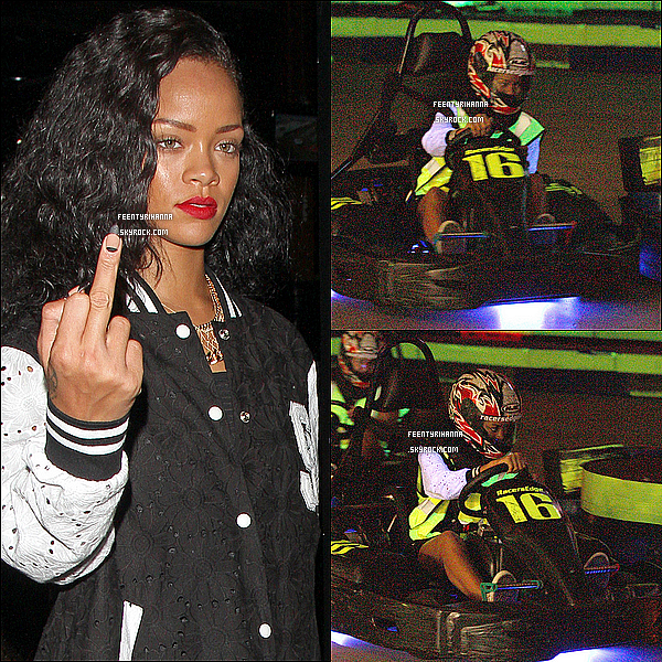 . 24/08/12 : Robyn Rihanna Fenty est allée faire du shopping à Los Angeles, en Californie.  + Le 25/08, Rih a fait une course de karting avec son équipe, Rob Kardashian, et sa petite amie; puis une soirée au club « Playhouse ».  .