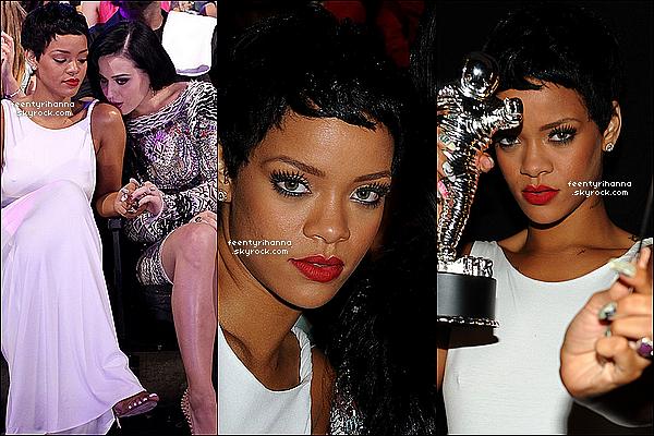 . 06/09/12 : Robyn était hier aux MTV Video Music Awards avec une nouvelle coupe.  R' a performée son hit We Found Love et Cockiness en featuring avec A$ap Rocky, elle a aussi gagnée l'award de la vidéo de l'année. .