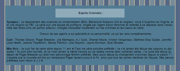 ~WonderfullSeries Esprits Criminels ►►Création - Décoration - Article Série.