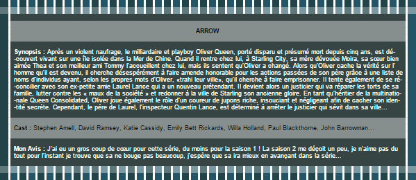 ~WonderfullSeries Arrow ►►Création - Décoration - Article Série.