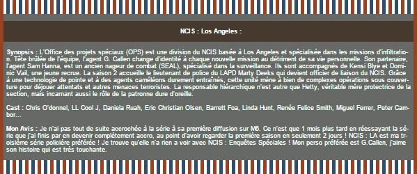~WonderfullSeries NCIS : Los Angeles ►►Création - Décoration - Article Série.