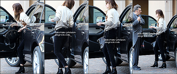 ; CANDIDS | Dakota a été apperçu très tôt ce matin, arrivant dans un hôtel à Beverly Hills, elle est arrivée seul 22.02.15....;dans son audi. D'après quelques rumeurs elle se serait séparés de son compagnon depuis peu... ;