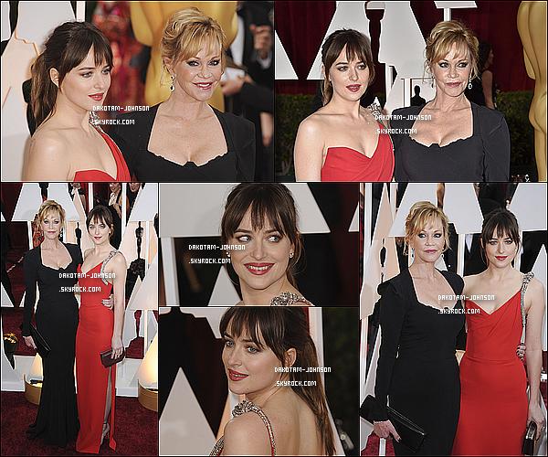 ; EVENTS | Dakota était comme prévu présente à la 87ème cérémonie des Oscars ce dimanche à Los Angeles, en 22.02.15..; compagnie de sa maman, l'actrice Mélanie Griffith. Je trouve que Dakota était magnifique et naturel !  ;