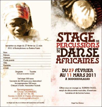 stage de percu et danse africaine au burkina faso (réservé vite)