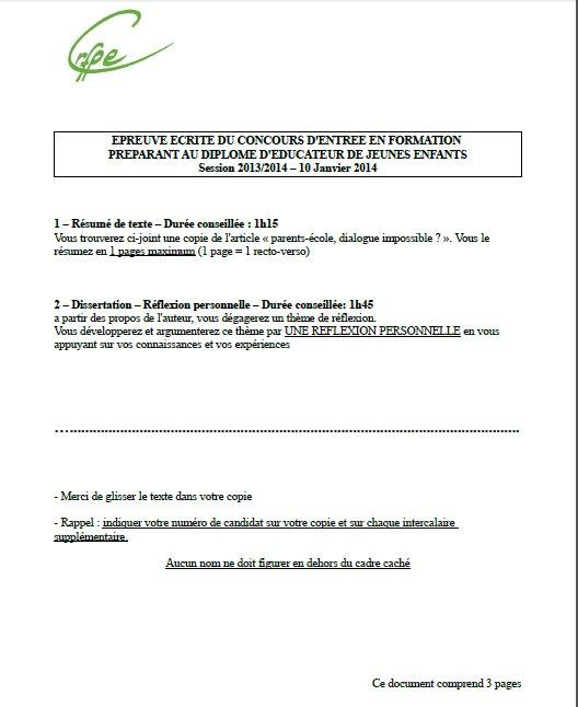 sujet dissertation concours eje