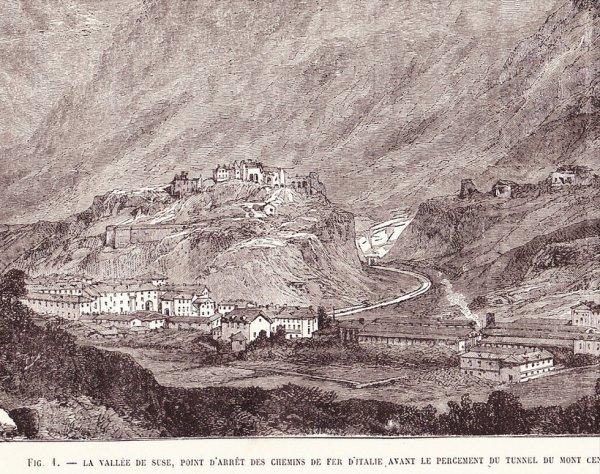 Image gravure La valle de Suze, point d´arrêt des chemins de fers d´Italie, avant le percement du tunnel du Mont Cenis