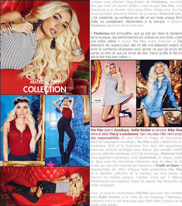 . Pia Mia devient le visage de «Material Girl» la marque de Madonna pendant un an.  Découvrez en exclusivité sur Mia-Pia, le nouveau projet de Pia Mia en collaboration avec Madonna. Le texte est entièrement traduis par mes soins. .