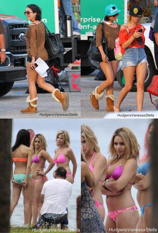 27 Mars 2012. Vanessa, Ashley et Selena ont été vue sur le tournage de Spring Breakers.