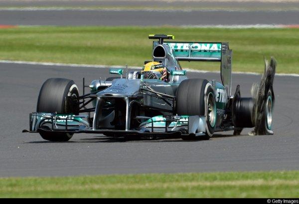 Grand Prix de Grande Bretagne à Silverstone : 4 pneus arrière gauche explosés ( Hamilton, Massa, Vergne et Perez)