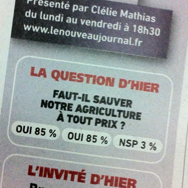 sondage : choisir entre oui et oui ; direct matin 2011-03-01