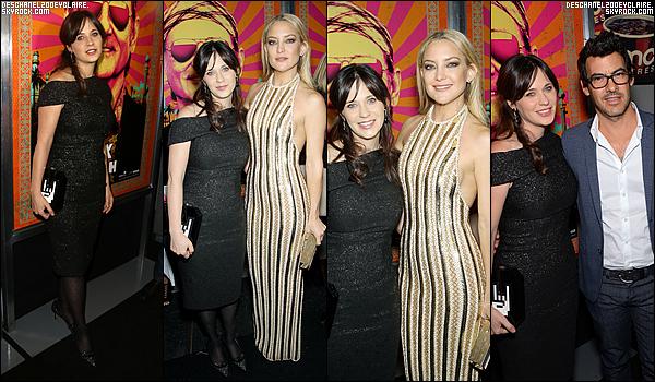 . 19/10/2015 : Zooey D. s'est rendu à l'avant-première new-yorkaise de son film Rock The Kasbah.   Premier event de l'année pour Zooey ! Elle étais étincelante dans une robe Lela Rose au côté de ses co-stars et de son mari. .