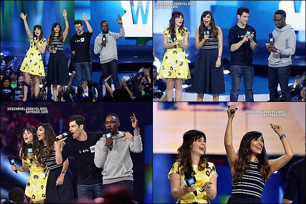 . 07/04/2016 : Zooey, accompagné du cast de New Girl,    était à l'évenement WeDay à Los Angeles.  Le cast a rendu honneur aux jeunes qui aident leur pays et leur dédiée un discours de remerciement. Zooey est monté sur scène 2 fois. .
