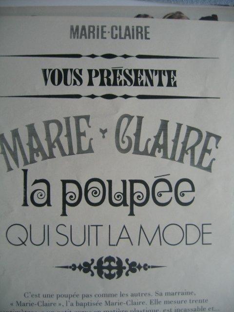 Comme promis à Fabichou72 voici la garde robe de la poupée Marie-Claire