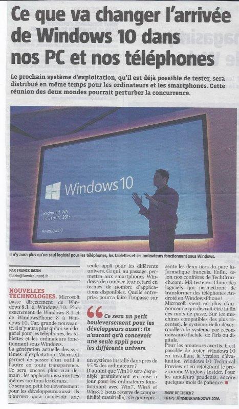 Ce que va changer l'arrivée de Windows 10 ..