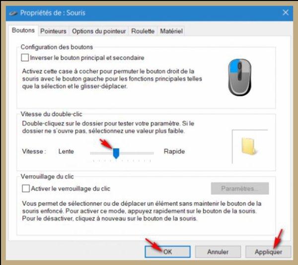 Augmenter ou diminuer la durée du double clic - Windows 10.
