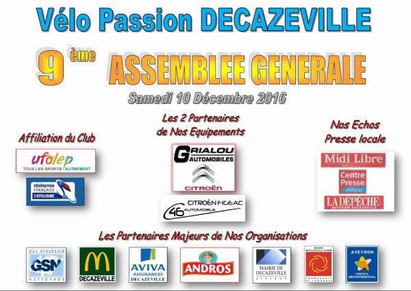 9ème ASSEMBLEE GENERALE ce 10 Décembre 2016