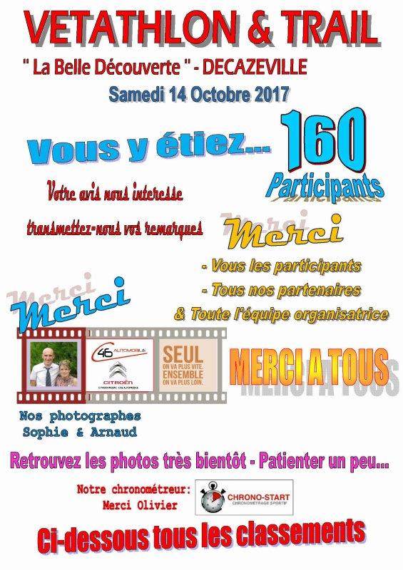 LES RESULTATS DU 8ème VETATHLON & TRAIL DE LA DECOUVERTE