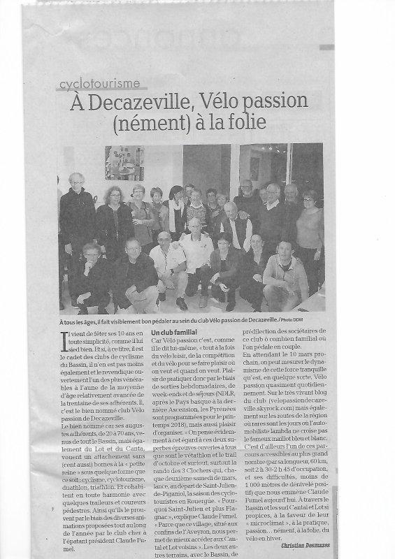 ARTICLE JOURNAL LA DEPECHE '' PAGE CYCLO AVEYRON ''  DU DIMANCHE