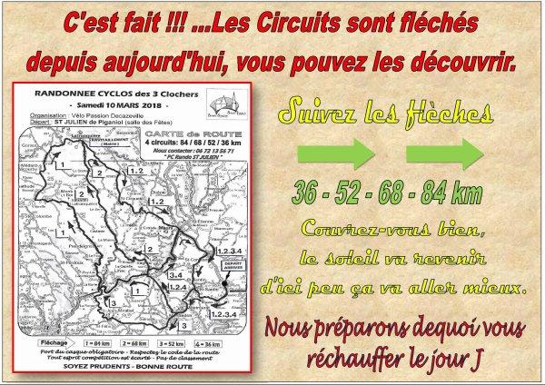 VOUS POUVEZ DECOUVRIR LES PARCOURS CYCLOS....ILS SONT FLECHES DEPUIS AUJOURD'HUI MERCREDI....
