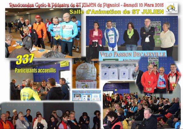 QUELQUES IMAGES DE NOTRE DERNIERE ORGANISATION: RANDOS CYCLOS & MARCHEURS DE ST JULIEN -12 MERCI A NOS PARTENAIRES & A VOUS TOUS LES PARTICIPANTS