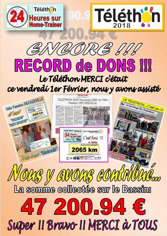 LE TELETHON DU BASSIN FAIT ENCORE RECETTE !!!
