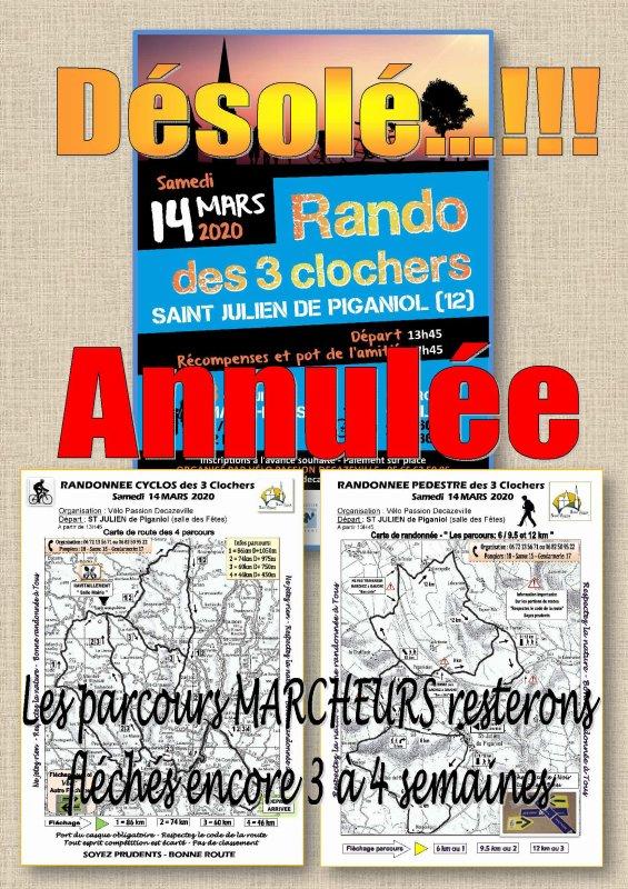 LA RANDONNEE DE DEMAIN EST ANNULEE POUR LES RAISONS QUE VOUS DEVEZ COMPRENDRE. A NOTRE GRAND REGRET CAR NOUS ETIONS BIEN PARTI POUR UN BEAU SUCCES AU VU DES PREINSCRITS. DOMMAGE...!!! MAIS IL Y A TOUJOURS PLUS GRAVE.