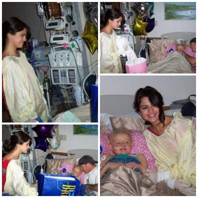 Selena a la radio KIIS 108 puis avec un enfant malade.